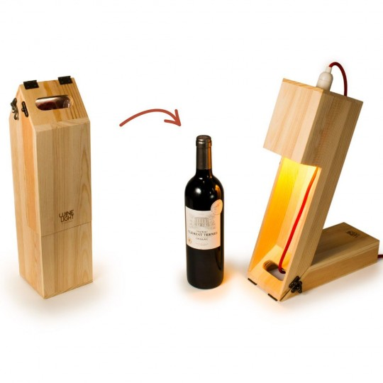 Wine light, coffret à bouteille transformable en lampe