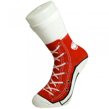 Chaussettes style basket converse rouge