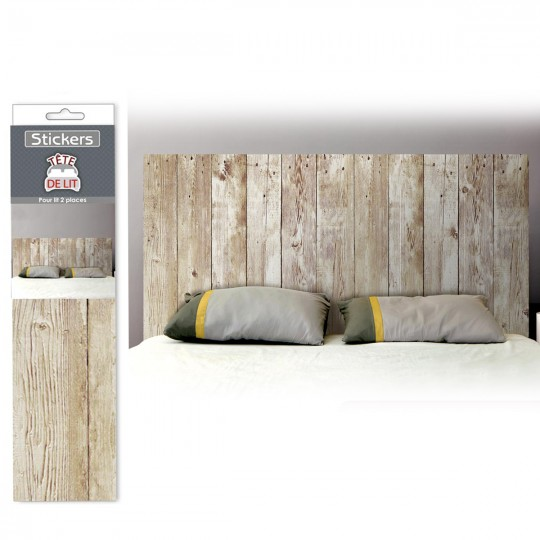 d co facile stickers t te de lit effet planches de bois 15 90. Black Bedroom Furniture Sets. Home Design Ideas