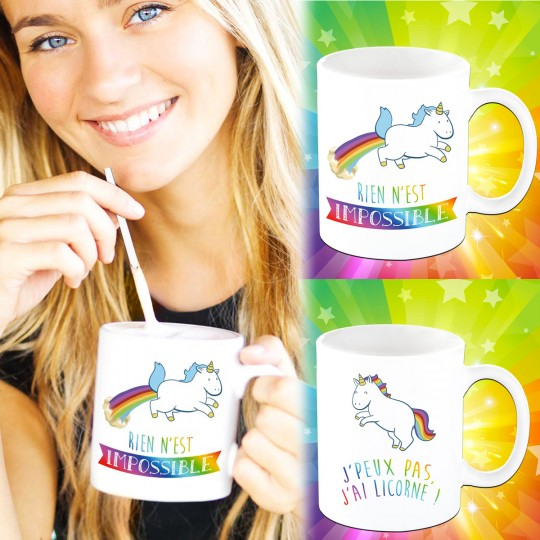 Set 2 mugs Licorne
