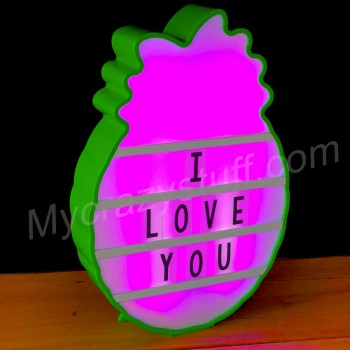 Ananas lightbox multicolore, lampe à messages