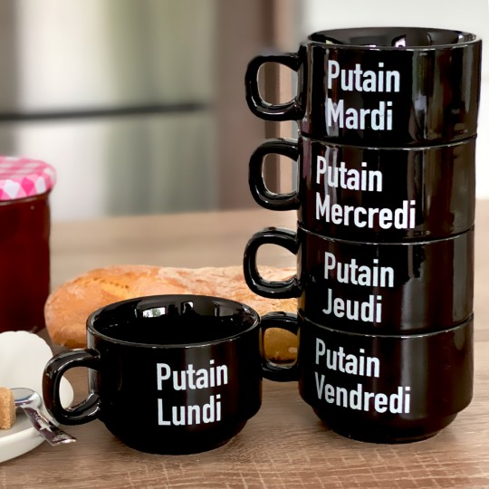 Set de 5 tasses Putain de semaine