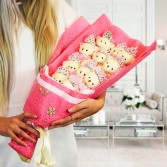 Coffret Bouquet d'oursons peluche
