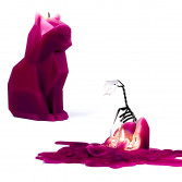 Bougie chat squelette PyroPet Burgundy